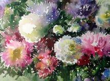 Akwareli sztuki tła kwiatu asteru bielu abstrakcjonistycznych kwiecistych menchii fiołkowy mokry obmycie zamazywał fantazję Fotografia Stock