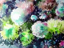 Akwareli sztuki tła kwiatu asteru bielu abstrakcjonistycznych kwiecistych menchii fiołkowy mokry obmycie zamazywał fantazję Zdjęcie Stock