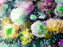 Akwareli sztuki tła kwiatu asteru bielu abstrakcjonistycznych kwiecistych menchii fiołkowy mokry obmycie zamazywał fantazję Obraz Royalty Free
