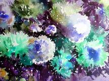 Akwareli sztuki tła kwiatu asteru bielu abstrakcjonistycznych kwiecistych menchii fiołkowy mokry obmycie zamazywał fantazję Obrazy Royalty Free