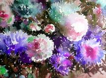 Akwareli sztuki tła kwiatu asteru bielu abstrakcjonistycznych kwiecistych menchii fiołkowy mokry obmycie zamazywał fantazję Zdjęcia Stock