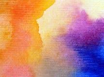 Akwareli sztuki tła natury nieba wschodu słońca delikatnej kolorowej tęczy świeży romantyczny Obrazy Royalty Free
