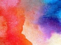 Akwareli sztuki tła wiosny delikatne kolorowe kreatywnie błękitne plamy zaplamiają overfow nieba zmierzchu naturę royalty ilustracja