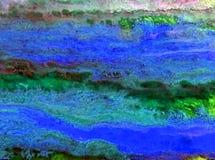 Akwareli sztuki tła zielonego światła abstrakcjonistyczny błękitny kleks Obrazy Stock