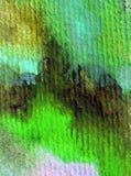 Akwareli sztuki tła zielonej rośliny abstrakcjonistyczna gałąź muska textured mokrego obmycia zamazującą fantazję Zdjęcie Stock