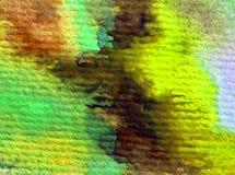 Akwareli sztuki tła zielonej rośliny abstrakcjonistyczna gałąź muska textured mokrego obmycia zamazującą fantazję Zdjęcia Royalty Free
