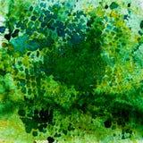 Akwareli tła abstrakcjonistyczny obraz, ręka rysująca na papier adry teksturze Zieleń kwadrat Dla nowożytnego wzoru, tapeta Obrazy Stock