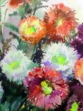 Akwareli tła kwiatów abstrakcjonistycznego kwiecistego deseniowego asteru mokry obmycie zamazywał dekoraci ręki pięknego wallpape Obraz Royalty Free