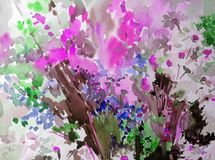 Akwareli tła wildflowers łąki abstrakcjonistycznego kwiecistego deseniowego pola dekoraci ręki jaskrawa zamazana textured piękna  Zdjęcie Royalty Free