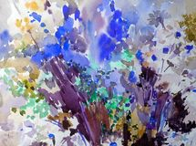 Akwareli tła wildflowers łąki abstrakcjonistycznego kwiecistego deseniowego pola dekoraci ręki jaskrawa zamazana textured piękna  Zdjęcia Stock