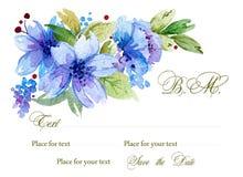 Akwareli tło z kwiatami i liśćmi Zdjęcie Royalty Free