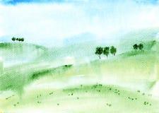 Akwareli tła krajobraz Fotografia Royalty Free