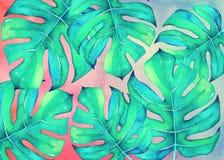 Akwareli tropikalny tło z zielonymi liśćmi Zdjęcie Stock