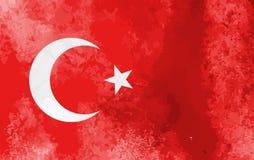 Akwareli Turcja flagi tło Wektorowy illumration eps10 ilustracji