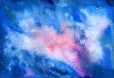 Akwareli wektorowa pozaziemska tekstura z jarzyć się gwiazdy Obraz Royalty Free