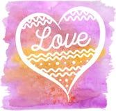 Akwareli wektorowa ręka rysujący różowy serce Zdjęcia Stock