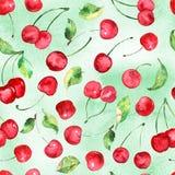 Akwareli wiśni owocowy bezszwowy wzór na akwareli zieleni tle Obraz Stock
