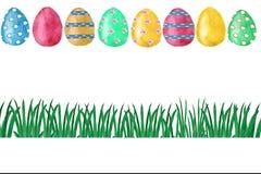 Akwareli Wielkanocna karta z barwionymi jajkami, kwiatami i listem, Projekta element dla kartka z pozdrowieniami ilustracja wektor
