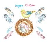 Akwareli Wielkanocny ustawiający z pisklęcym ptakiem, gniazdeczkiem z barwionymi jajkami i dobierającymi piórkami, fotografia stock