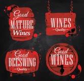 Akwareli wina beczki kreda ilustracji