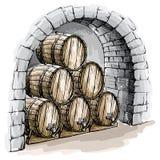 Akwareli wina loch z baryłkami Fotografia Royalty Free