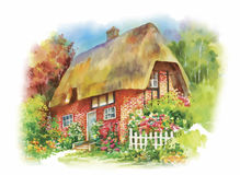 Akwareli wioska w zielonej letni dzień ilustraci Fotografia Stock