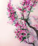 Akwareli wiosny tło Magenta kwitnie na gałąź Zdjęcia Royalty Free