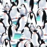 Akwareli witn pingwinu ` s bezszwowy deseniowy kierdel na śniegu Zdjęcia Stock