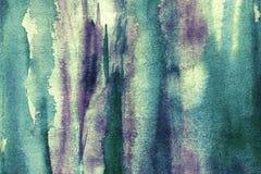 Akwareli zieleni i purpurowi brushstrokes Obraz Stock