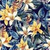 Akwareli zieleni wektorowi bezszwowi deseniowi tropikalni liście ilustracja wektor