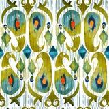 Akwareli zielonego ikat wibrujący bezszwowy wzór Modny plemienny w watercolour stylu Pawia Piórko