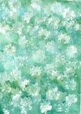 Akwareli zielonobiały abstrakcjonistyczny tło Obraz Royalty Free