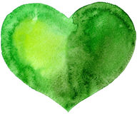 Akwareli zielony serce Obrazy Royalty Free