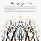 Akwareli zimy drzewo royalty ilustracja