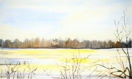 Akwareli zimy krajobraz Śnieżysta dolina i drzewa ilustracja wektor