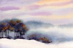 Akwareli zimy krajobraz Wieczór niebo nad doliną Zdjęcie Stock