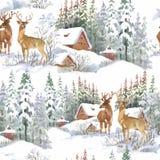Akwareli zimy lasu krajobraz, wektorowa ilustracja, bezszwowy wzór Obraz Stock