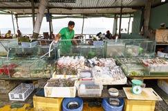 Akwaria i puchary wypełniali z świeżym owoce morza wewnątrz w restauracji obraz stock