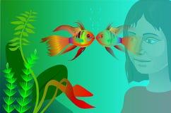 akwarium czarny rysunku ryba linia biel royalty ilustracja