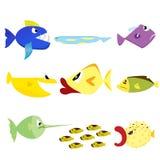 Akwarium ryba - set wektorowe ikony. Odizolowywający dalej Obraz Stock