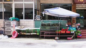 Akwarium z ryba i warzywa zbliżamy kawiarni Fotografia Royalty Free
