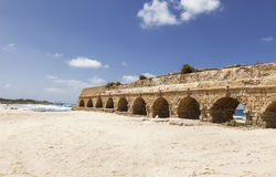 Akwedukt w antycznym Caesarea, Izrael Zdjęcia Royalty Free