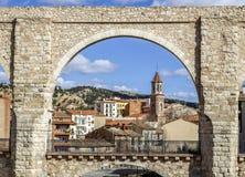 Akweduktów łuki, Teruel Hiszpania Obrazy Stock