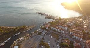 Akyaka Aerial Landscape and Cityscape, Turkey stock video footage