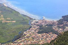 Akyaka cityscape from sakartepe with aegean sea. And mountains in Mugla, Turkey stock image