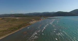 Akyaka, Turkey Aerial kitesurf 4K stock video
