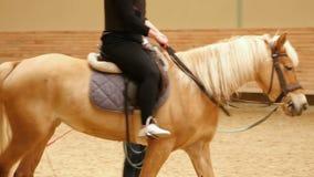 AKYAKA - TURKEY, MAY 2015: woman learning horse riding stock video footage