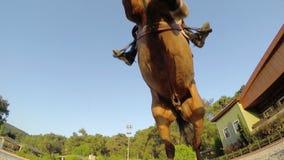 AKYAKA - TURQUÍA, MAYO DE 2015: Obstáculo de salto del caballo, puesta del sol, metrajes