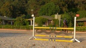 AKYAKA - TURQUÍA, MAYO DE 2015: Obstáculo de salto del caballo, puesta del sol almacen de video