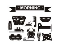 Aléatoire noir réglé de matin Photographie stock